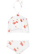 GANNI - Ruffled Printed Halterneck Bikini - White