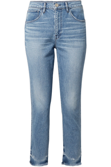3x1 | 3x1 - W3 Cropped Frayed High-rise Straight-leg Jeans - Mid denim | Clouty