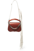 Фото CALVIN KLEIN 205W39NYC - Fringed Chain-trimmed Leather Shoulder Bag - Chocolate