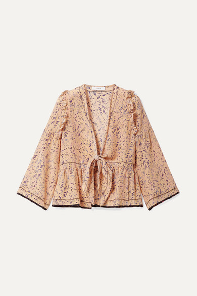 IRO | IRO - Jarley Tie-front Printed Silk Crepe De Chine Blouse - Peach | Clouty