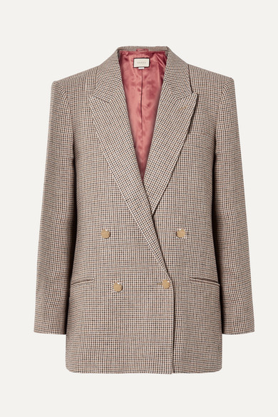 GUCCI | Gucci - Houndstooth Checked Linen Blazer - Brown | Clouty