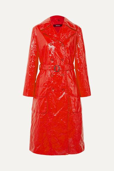 Sies Marjan | Sies Marjan - Bessie Crinkled-vinyl Trench Coat - Crimson | Clouty