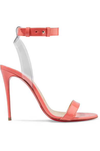 Christian Louboutin | Christian Louboutin - Jonatina 100 Pvc-trimmed Patent-leather Sandals - Peach | Clouty