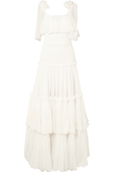 Dolce & Gabbana | Dolce & Gabbana - Tiered Ruffled Silk-chiffon Gown - White | Clouty