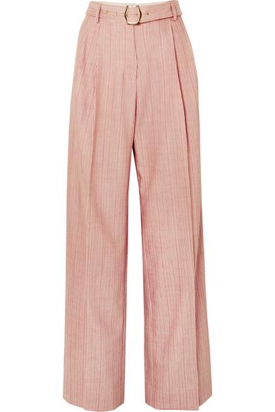 Sies Marjan | Sies Marjan - Blanche Striped Wool-blend Pants - Red | Clouty