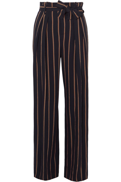Vince | Vince - Belted Striped Crepe Wide-leg Pants - Navy | Clouty