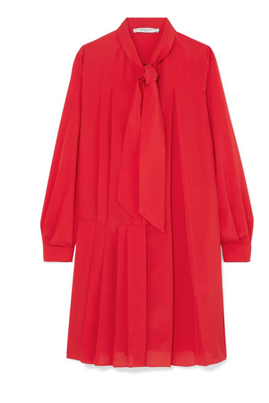 GIVENCHY | Givenchy - Pussy-bow Pleated Silk-blend Crepe De Chine Mini Dress - Red | Clouty