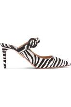 Aquazzura - Blossom Zebra-print Calf Hair Mules - Zebra