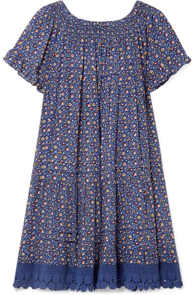 Tory Burch | Tory Burch - Wild Pansy Crochet-trimmed Poplin Mini Dress - Navy | Clouty