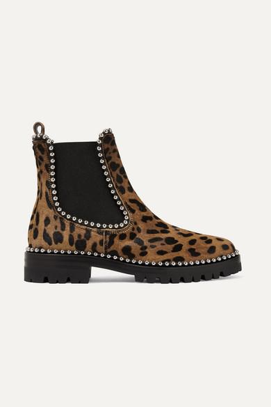 Alexander Wang | Alexander Wang - Spencer Studded Leopard-print Calf Hair Chelsea Boots - Leopard | Clouty