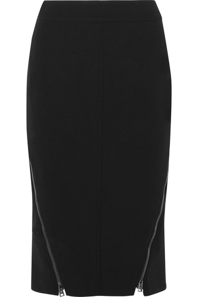 Tom Ford | TOM FORD - Leather-trimmed Wool-blend Midi Skirt - Black | Clouty