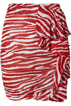 Isabel Marant Etoile - Jerine Ruffled Zebra-print Chiffon Mini Skirt - Red