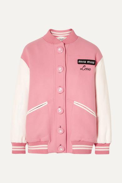 MIU MIU   Miu Miu - Oversized Two-tone Leather And Wool Bomber Jacket - Pink   Clouty