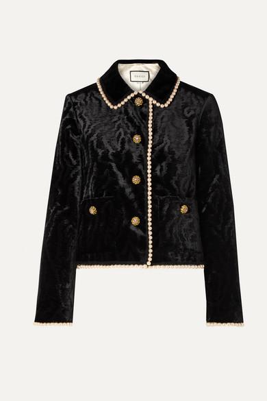 GUCCI | Gucci - Faux Pearl And Swarovski Crystal-embellished Devore-velvet Jacket - Black | Clouty