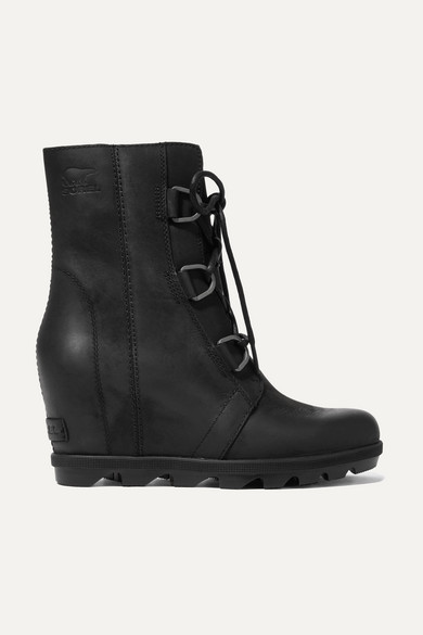 Sorel | Sorel - Joan Of Arctic Wedge Ii Waterproof Leather And Rubber Ankle Boots - Black | Clouty