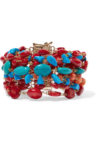 Rosantica | Rosantica - Prato Fiorito Gold-tone Beaded Bracelet - Red | Clouty