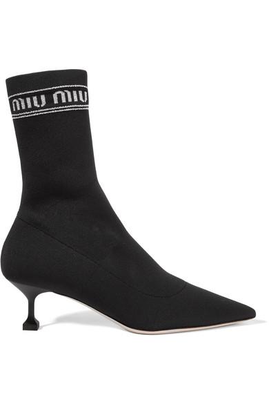 MIU MIU | Miu Miu - Logo-print Metallic Stretch-knit Sock Boots - Black | Clouty