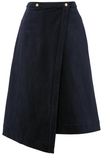 Acne Studios | Acne Studios - Asymmetric Cotton-blend Corduroy Wrap Skirt - Navy | Clouty