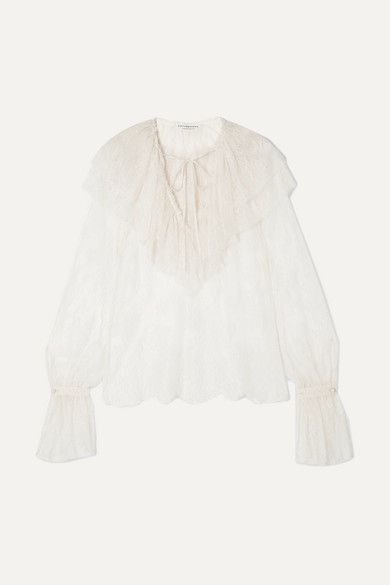 Philosophy di Lorenzo Serafini | Philosophy di Lorenzo Serafini - Ruffled Lace Blouse - White | Clouty