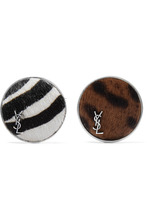 Saint Laurent - Set Of Two Silver-tone Calf Hair Brooches - Black