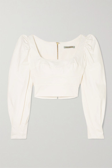 Silvia Tcherassi | Silvia Tcherassi - Victoria Cropped Cotton-blend Top - White | Clouty