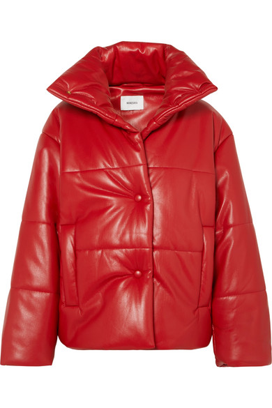 Nanushka | Nanushka - Hide Oversized Quilted Vegan Leather Jacket - Red | Clouty