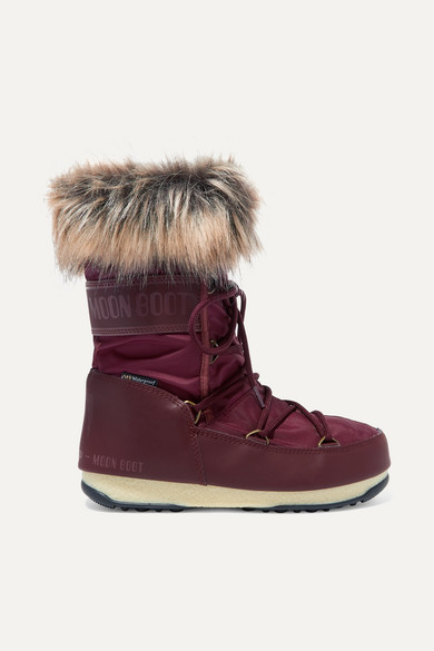 Moon Boot | Moon Boot - Monaco Faux Fur-trimmed Shell And Faux Leather Snow Boots - Burgundy | Clouty