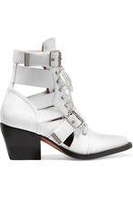 Фото Chloe - Rylee Cutout Glossed-leather Ankle Boots - White