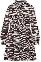 GANNI - Zebra-print Stretch-silk Satin Mini Dress - Zebra
