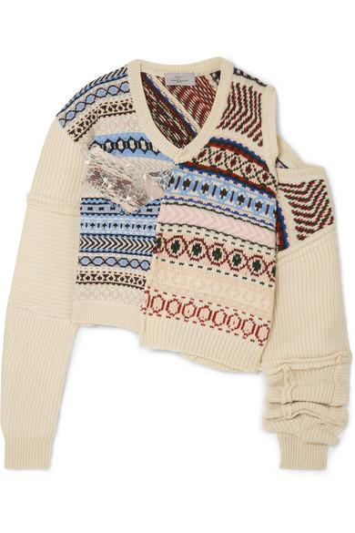 Preen By Thornton Bregazzi | Preen by Thornton Bregazzi - Cutout Distressed Fair Isle Wool Sweater - Ivory | Clouty