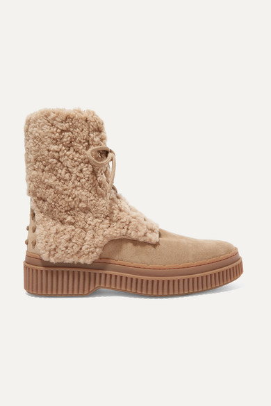 Tod's | Tod's - Logo-embroidered Shearling And Suede Ankle Boots - Light brown | Clouty
