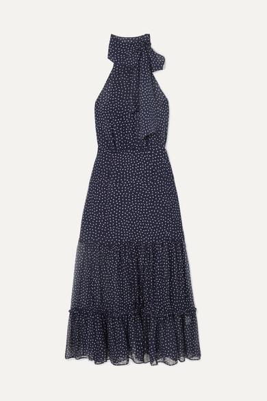 RIXO | RIXO - Eleanor Polka-dot Silk Midi Dress - Navy | Clouty