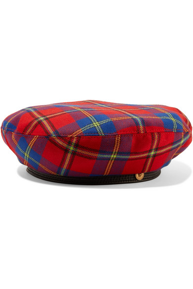 Versace | Versace - Leather-trimmed Checked Wool Beret - Red | Clouty
