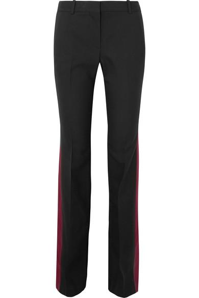 Alexander McQueen | Alexander McQueen - Wool And Silk-blend Bootcut Pants - Black | Clouty