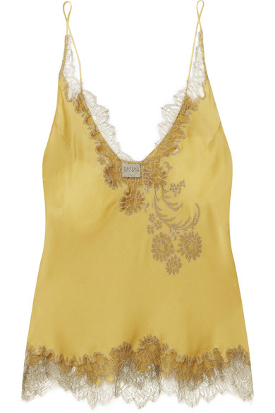 Carine Gilson | Carine Gilson - Chantilly Lace-trimmed Silk-satin Camisole - Mustard | Clouty