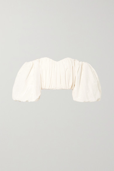 Ellery | Ellery - Lady Chatterley Off-the-shoulder Cotton-blend Moire Top - Ivory | Clouty