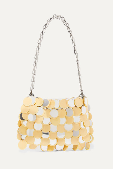 Paco Rabanne | Paco Rabanne - Sparkle 1969 Sequined Faux Leather Shoulder Bag - Yellow | Clouty