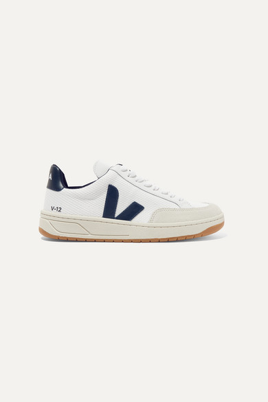 Veja | Veja - V-12 Leather-trimmed Mesh And Nubuck Sneakers - White | Clouty