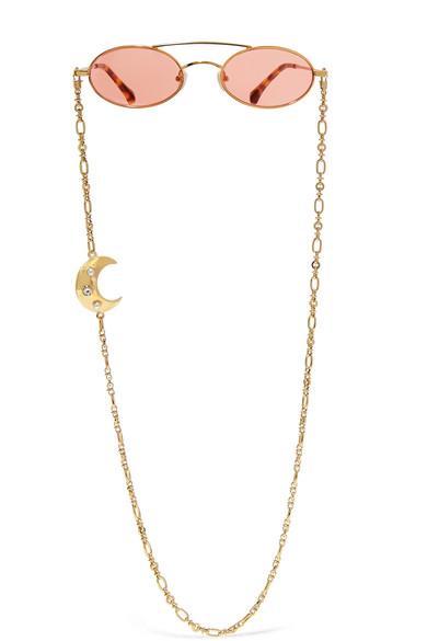 Alessandra Rich | Alessandra Rich - + Linda Farrow Oval-frame Gold-tone Sunglasses - one size | Clouty