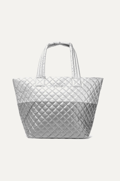Mz Wallace | MZ Wallace - Metro Medium Quilted Metallic Shell Tote - Silver | Clouty