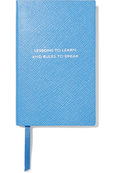 Smythson | Smythson - Panama Lessons To Learn And Rules To Break Textured-leather Notebook - Blue | Clouty