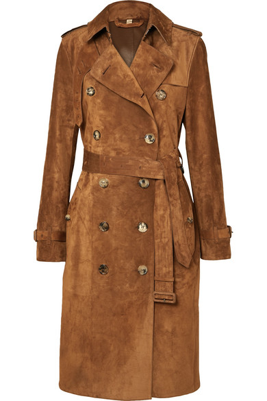 BURBERRY | Burberry - The Haddington Double-breasted Suede Trench Coat - Brown | Clouty