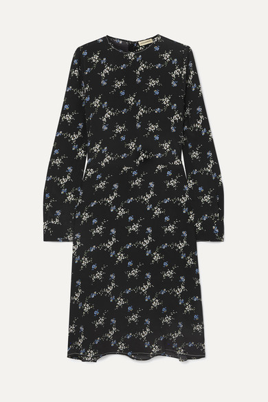 By Malene Birger | By Malene Birger - Garola Floral-print Crepe De Chine Dress - Black | Clouty