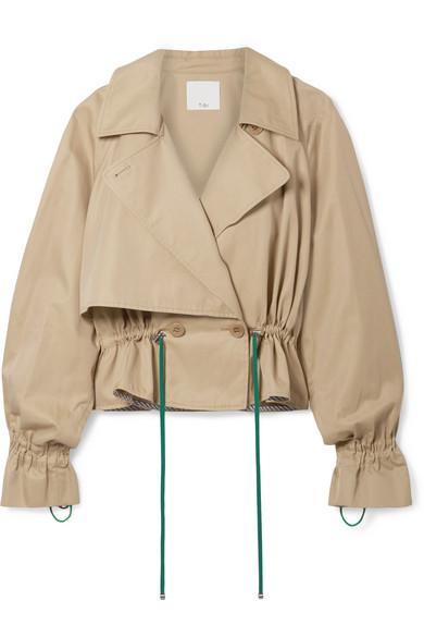 TIBI | Tibi - Finn Cropped Cotton-twill Jacket - Tan | Clouty