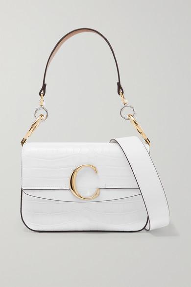 Chloé | Chloe - Chloe C Small Leather-trimmed Croc-effect Shoulder Bag - White | Clouty