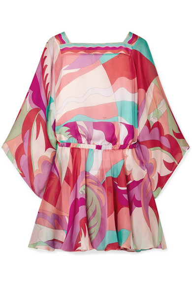 Emilio Pucci | Emilio Pucci - Cutout Printed Silk Crepe De Chine Mini Dress - Fuchsia | Clouty