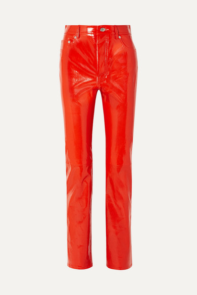 Helmut Lang | Helmut Lang - Patent-leather Straight-leg Pants - Red | Clouty