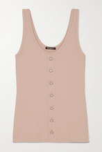 Balmain - Button-embellished Ribbed Stretch-jersey Tank - Blush