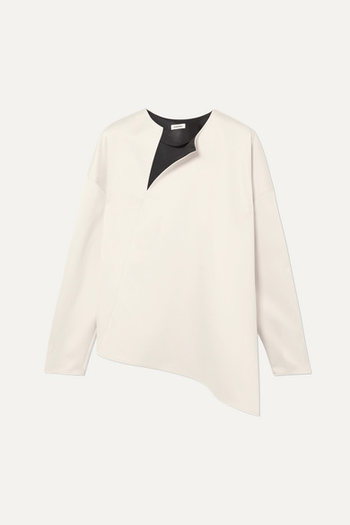 Totême | Toteme - Montbel Asymmetric Crepe De Chine Blouse - Cream | Clouty