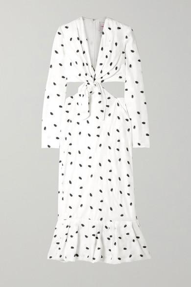 Carolina Herrera | Carolina Herrera - Cutout Jacquard Midi Dress - White | Clouty